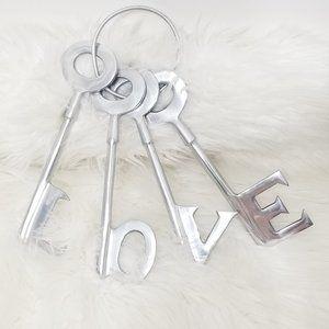 Love   Metallic Silver Decorative Shaped Keys